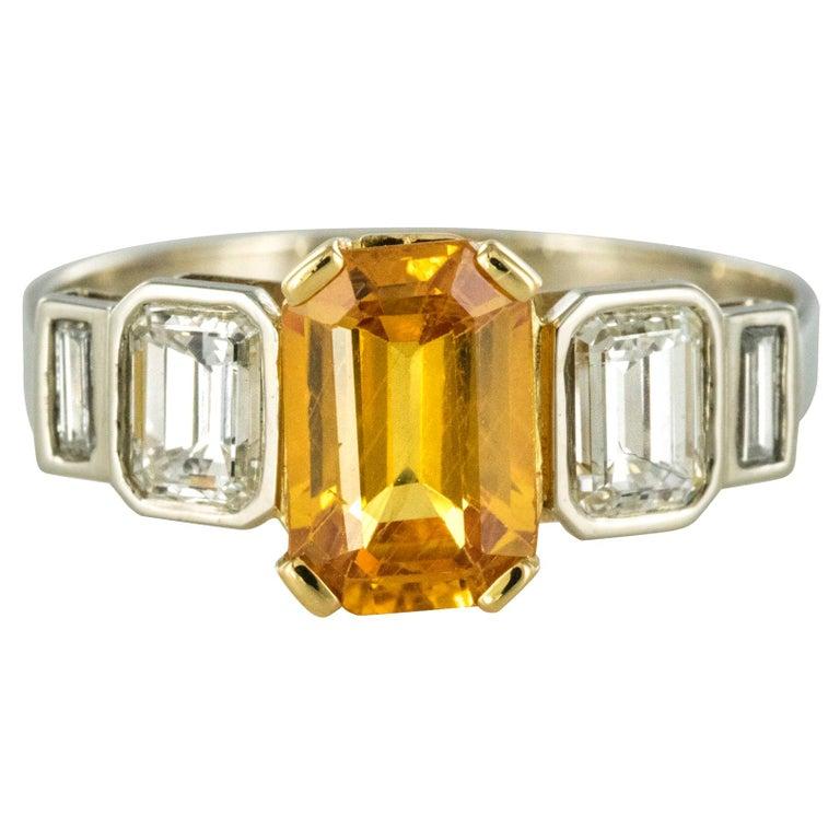 Art Deco Style Yellow Ceylon Sapphire Diamonds Ring For Sale
