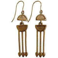 Art Deco Style Yellow Gold Long Drop Earrings