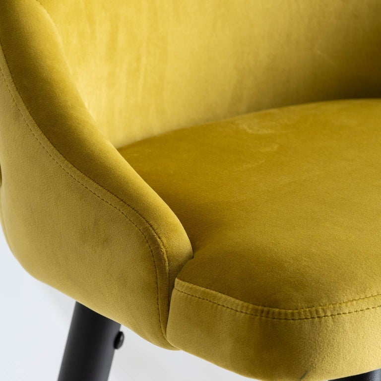 European Art Deco Style Yellow Mustard Velvet and Black Lacquered Metal Feet Bar Stool For Sale