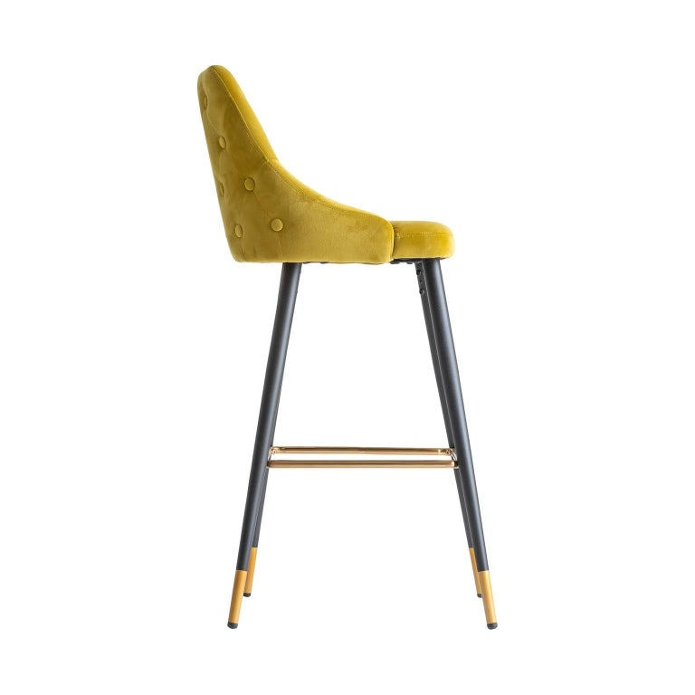 Art Deco Style Yellow Mustard Velvet and Black Lacquered Metal Feet Bar Stool In New Condition For Sale In Tourcoing, FR