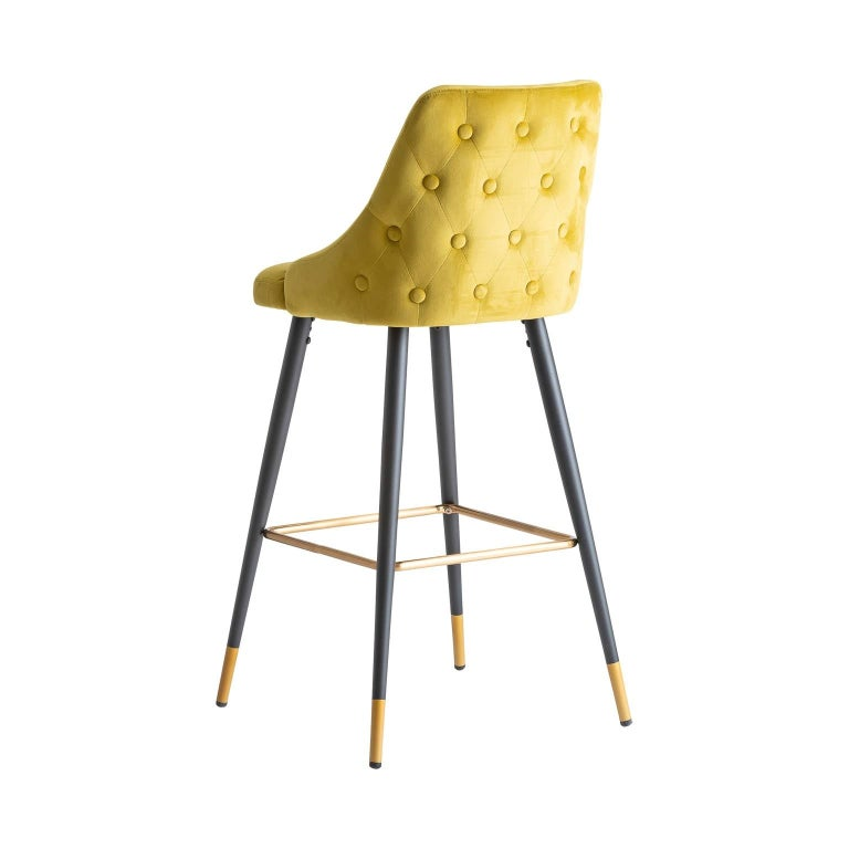 Art Deco Style Yellow Mustard Velvet and Black Lacquered Metal Feet Bar Stool For Sale 1