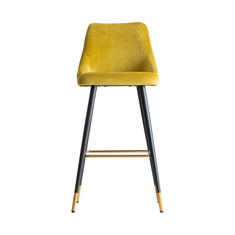 Peachy Art Deco Style Yellow Mustard Velvet And Black Lacquered Metal Feet Bar Stool Uwap Interior Chair Design Uwaporg