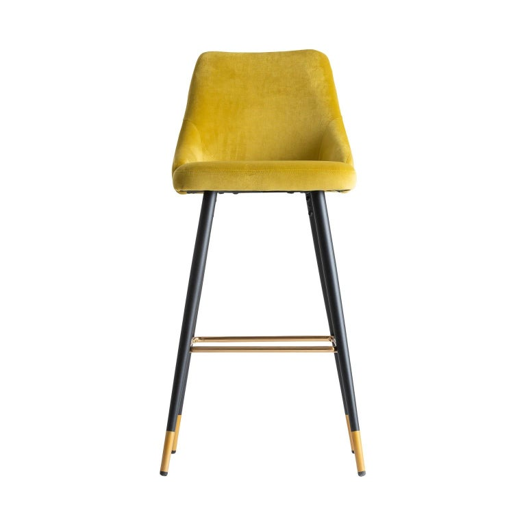 Art Deco Style Yellow Mustard Velvet and Black Lacquered Metal Feet Bar Stool For Sale 3