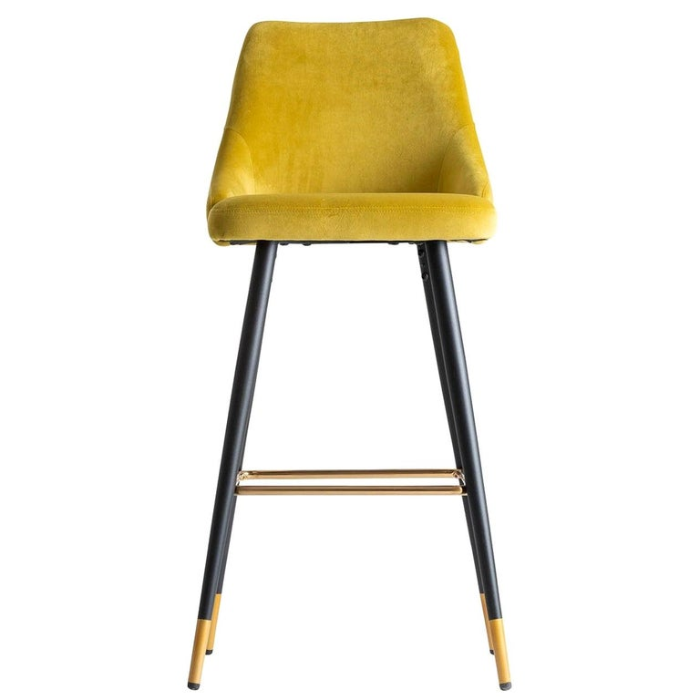 Art Deco Style Yellow Mustard Velvet and Black Lacquered Metal Feet Bar Stool For Sale