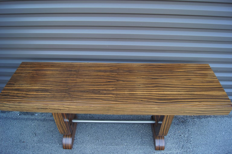 Art Deco Style Zebrawood Console Table In Good Condition For Sale In Boston, MA