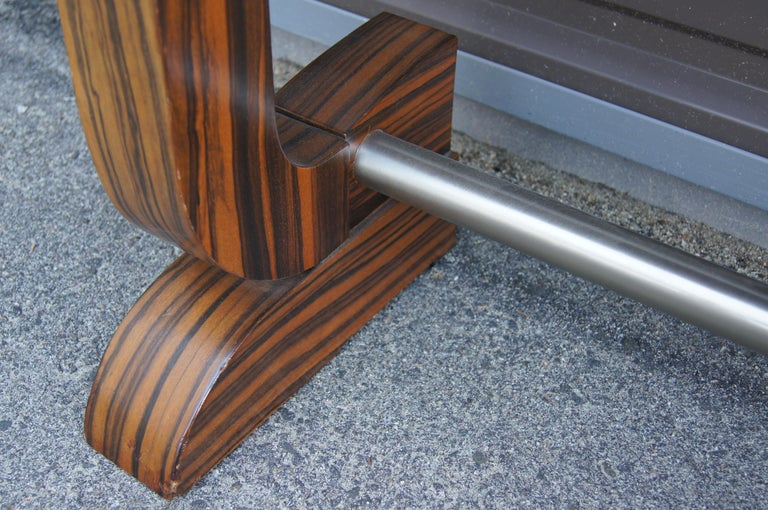 20th Century Art Deco Style Zebrawood Console Table For Sale