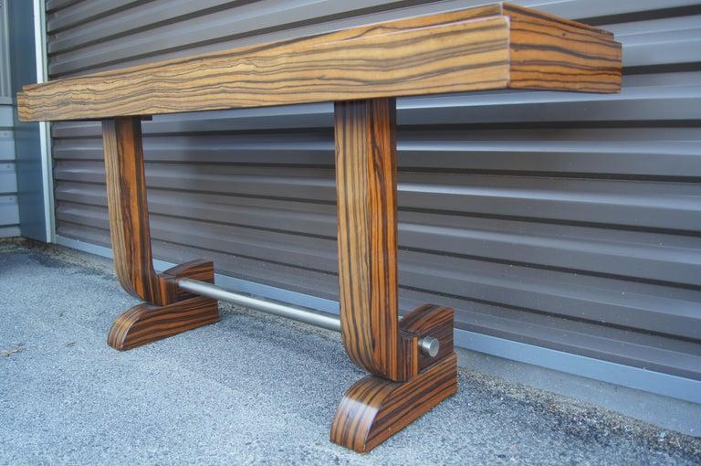 Aluminum Art Deco Style Zebrawood Console Table For Sale
