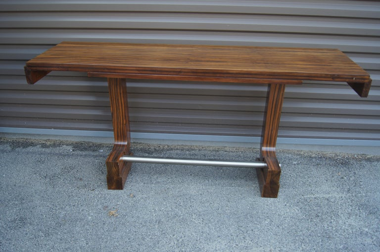 Art Deco Style Zebrawood Console Table For Sale 2