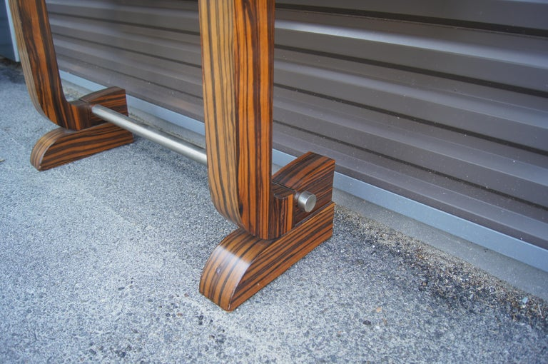 Art Deco Style Zebrawood Console Table For Sale 3