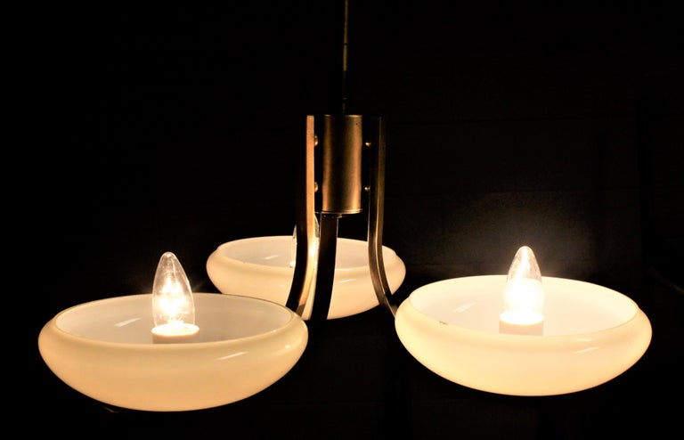 Art Deco Styled Brass Three Branch Chandelier with Off-White Glass Cupped Shades For Sale 4