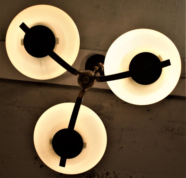 Art Deco Styled Brass Three Branch Chandelier with Off-White Glass Cupped Shades For Sale 7