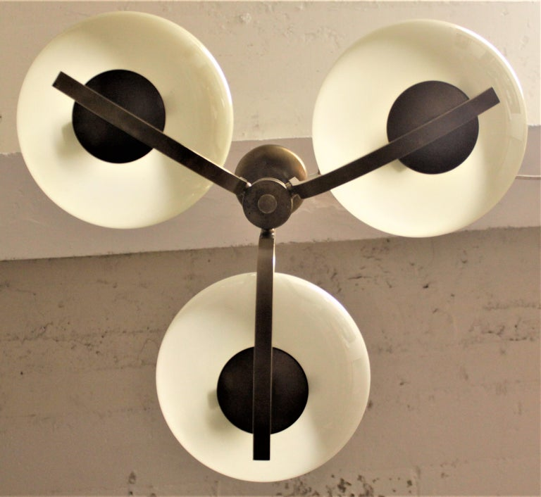 Art Deco Styled Brass Three Branch Chandelier with Off-White Glass Cupped Shades For Sale 8