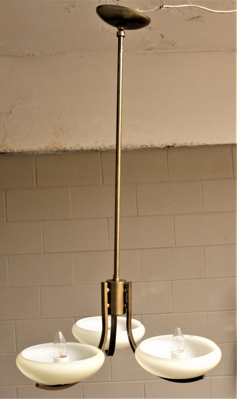 Art Deco Styled Brass Three Branch Chandelier with Off-White Glass Cupped Shades For Sale 1