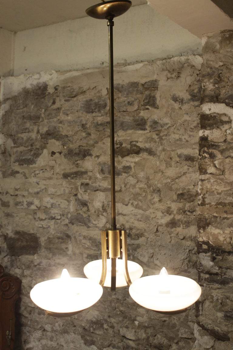 Art Deco Styled Brass Three Branch Chandelier with Off-White Glass Cupped Shades For Sale 2
