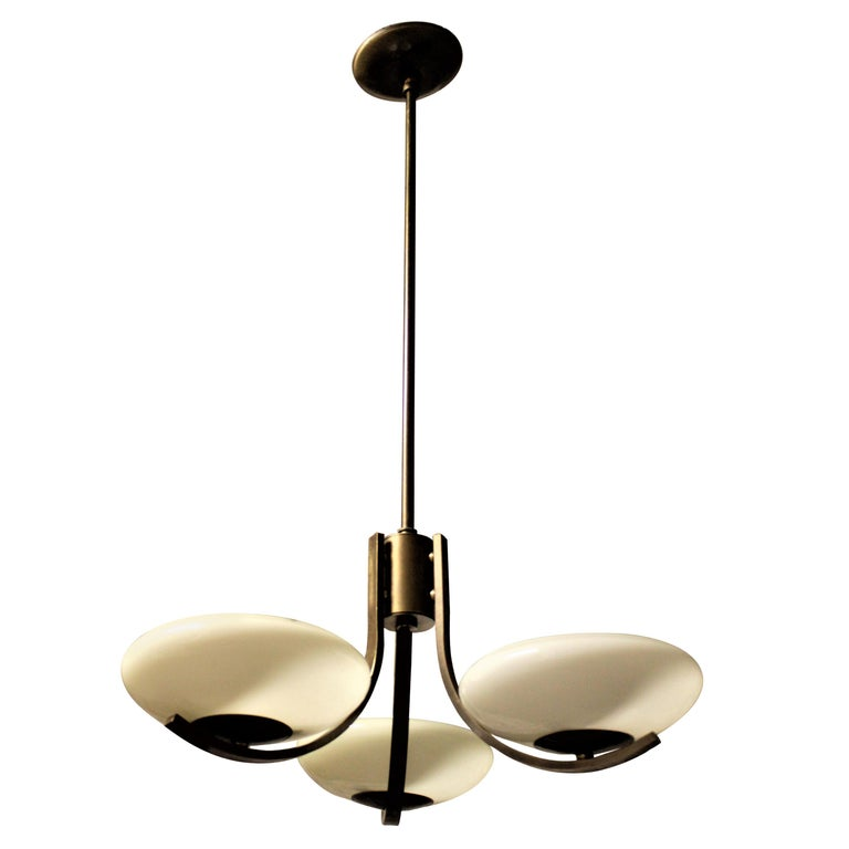 Art Deco Styled Brass Three Branch Chandelier with Off-White Glass Cupped Shades For Sale