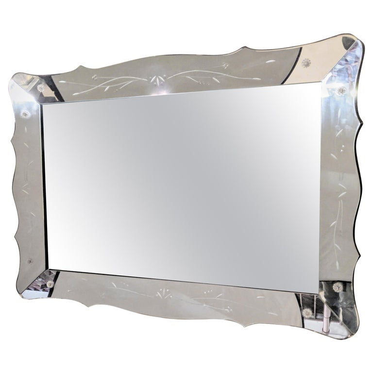 Art Deco Styled over the Mantle or Wall Mirror, Shadowbox Frame For Sale