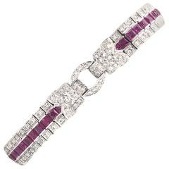 Art Deco Styled Ruby and Diamond Tennis Bracelet