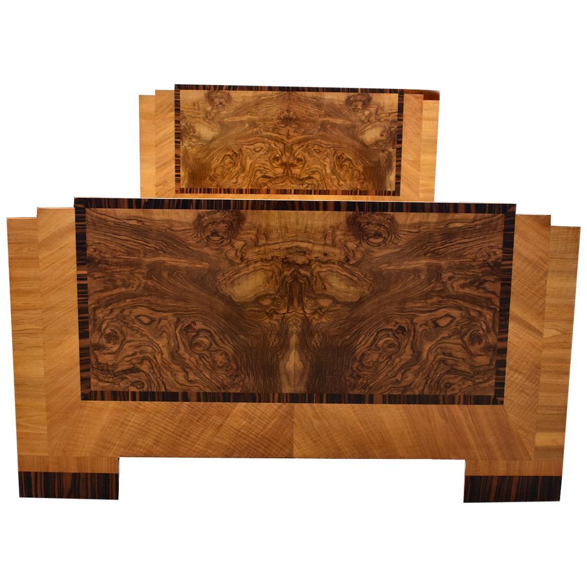 Art Deco Stylish 1930s Walnut Double Bed