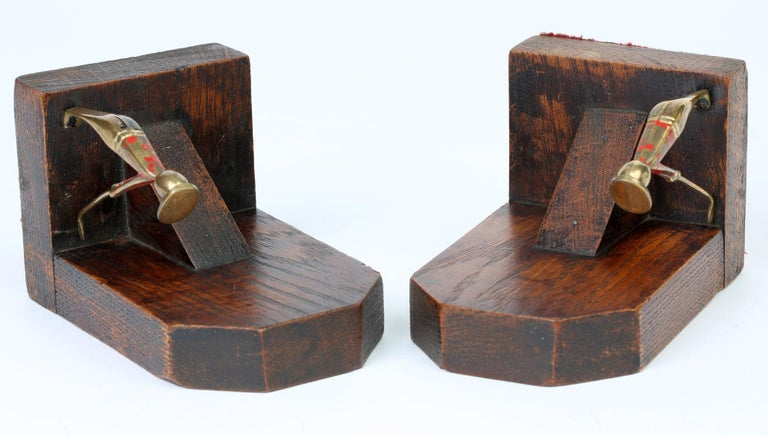 British Art Deco Stylish Pair of Wooden Mounted Golfing Bookends For Sale