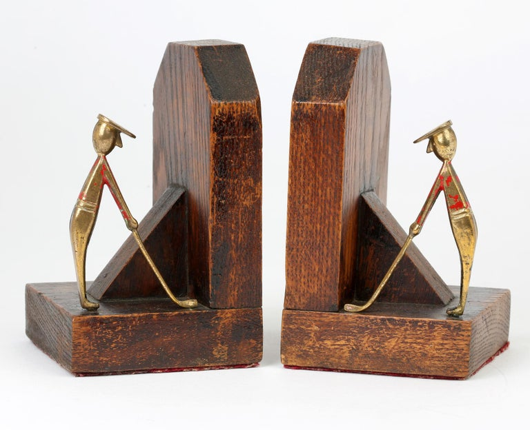 Early 20th Century Art Deco Stylish Pair of Wooden Mounted Golfing Bookends For Sale