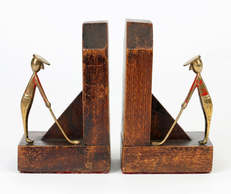 Hardwood Art Deco Stylish Pair of Wooden Mounted Golfing Bookends For Sale