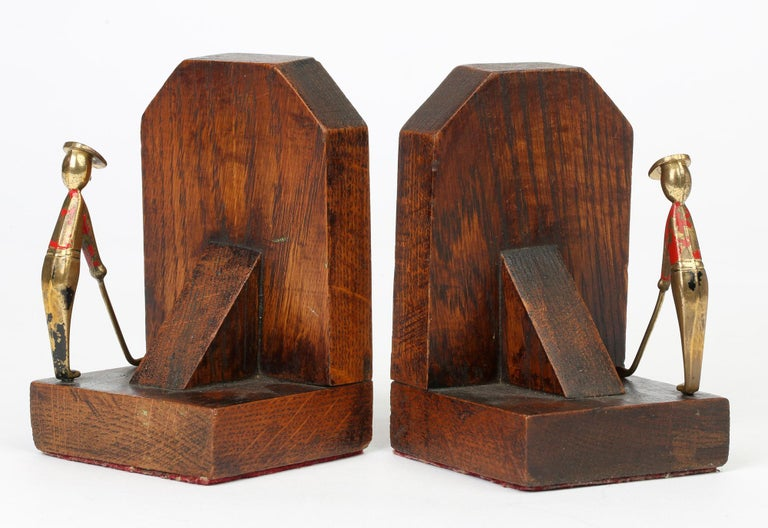 Art Deco Stylish Pair of Wooden Mounted Golfing Bookends For Sale 2