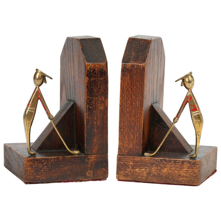 Art Deco Stylish Pair of Wooden Mounted Golfing Bookends For Sale