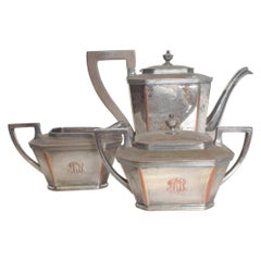 Art Deco Stylish Silver Plate Tea Set by Lawrence B Smith LBSCO 1940s Elegance