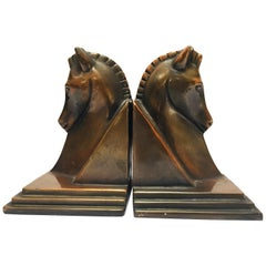 Art Deco Stylized Cast Bronze Sculptures of Horse Bust on Stand Bookends