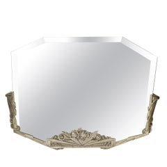 Art Deco Stylized Floral Cubist Silvered Bronze Beveled Octagonal Mirror