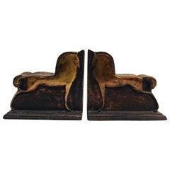 Stilisierte Art-Deco-Buchstützen, Pferde-Skulpturen