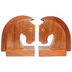 Art Deco Stylized Wood Sculptures of Horse Bust Bookends