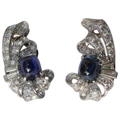 Art Deco Sugarloaf Cut Sapphire Diamond Earrings