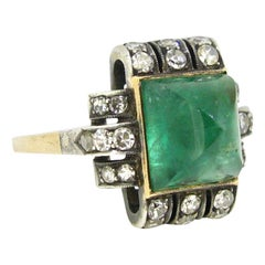 Art Deco Sugarloaf Emerald and Diamonds Ring