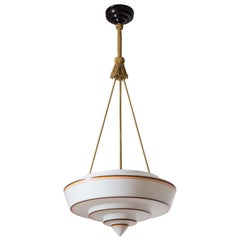Art Deco Suspension Light, 1930s, Enameled Glass