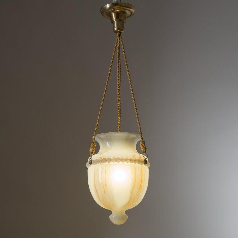 German Art Deco Suspension Light, 1930s, Hand Painted Glass