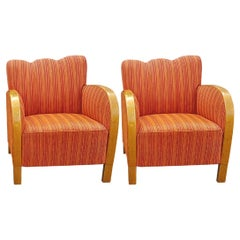 Art Deco Swedish Armchairs Fluted Back Bentwood Arms Early 20th Century