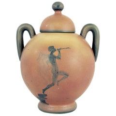 Art Deco Swedish Ceramic Urn with Lid by Åke Holm, Höganäs