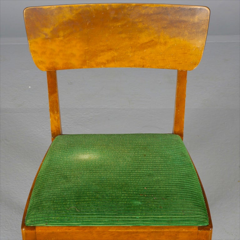 Marquetry Art Deco Swedish Dining Chairs Set of 4 1930s Biedermeier For Sale