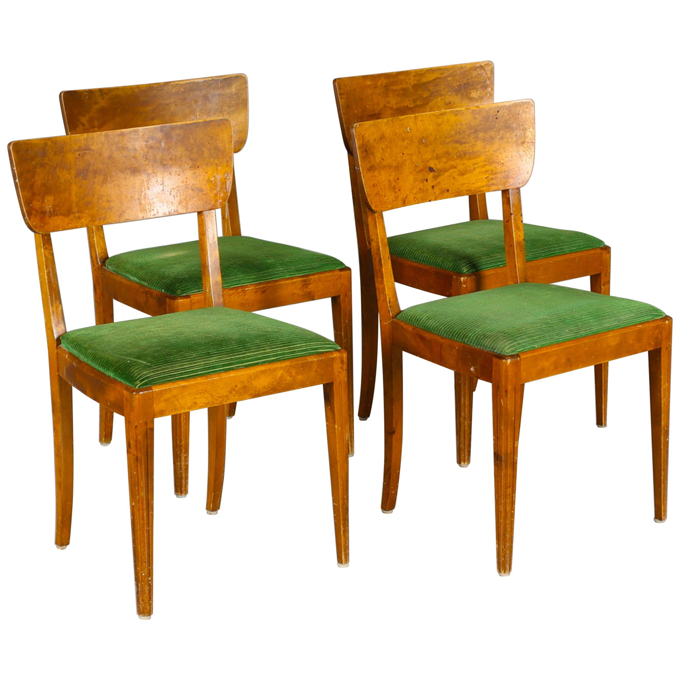 Art Deco Swedish Dining Chairs Set of 4 1930s Biedermeier