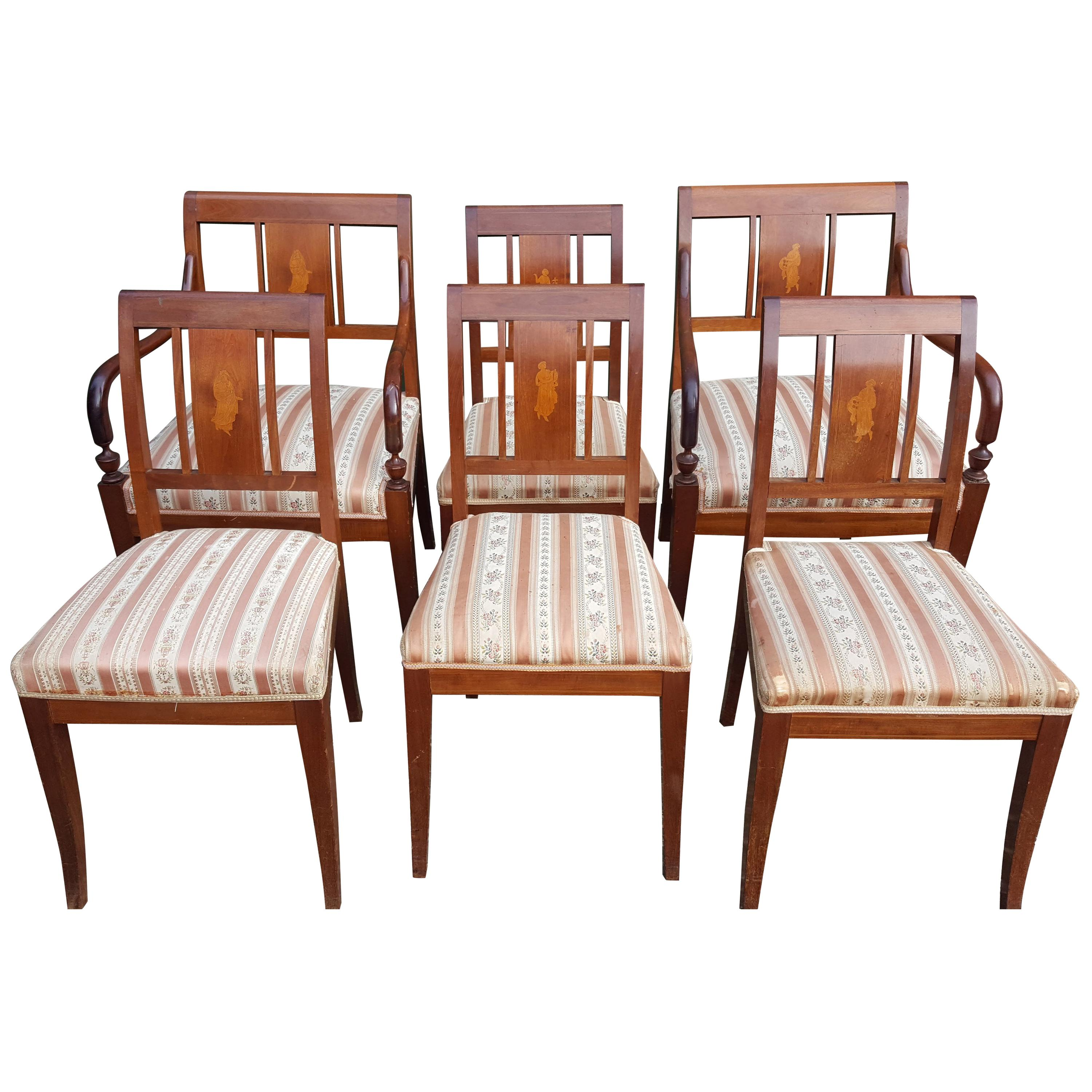 Art Deco Swedish Dining Chairs Set of 6 Marquetry Dark Honey, Early 20th Century