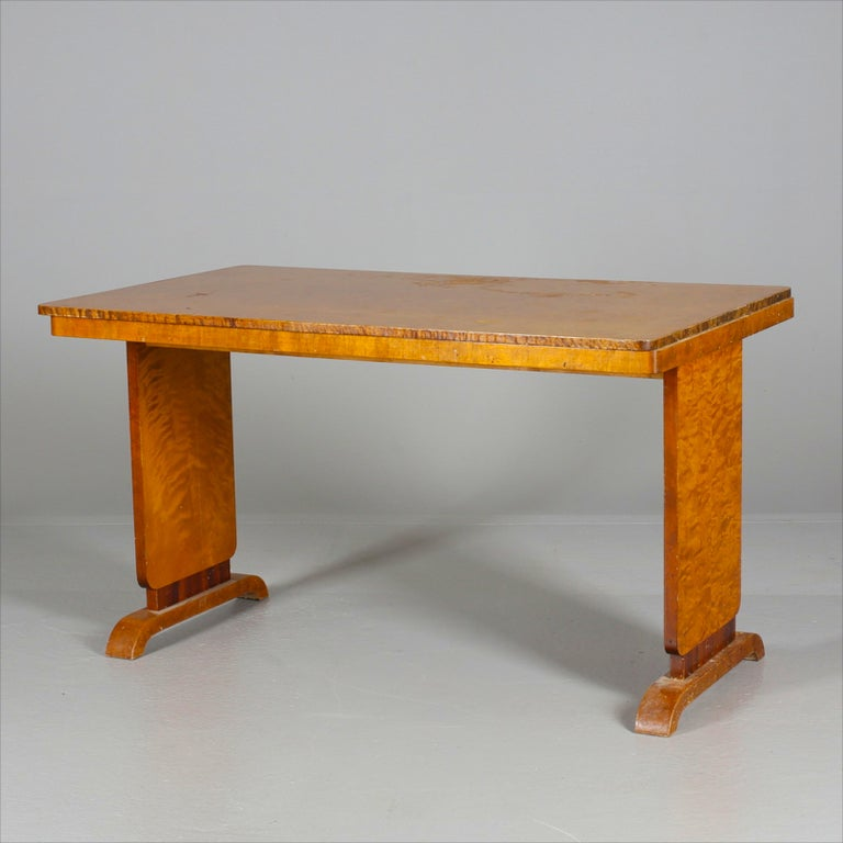 Marquetry Art Deco Swedish Extendable Dining Table, 1930s Biedermeier For Sale