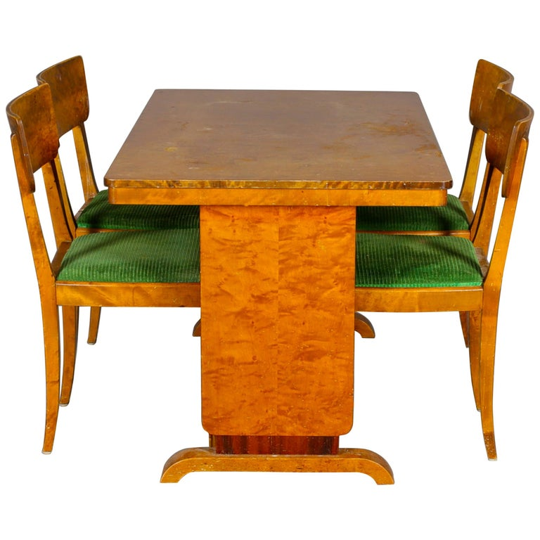 Art Deco Swedish Extendable Dining Table, 1930s Biedermeier For Sale