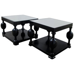 Art Deco Swedish Set of Two Side Tables with Mirrored Tops & Ebonized Birch Wood