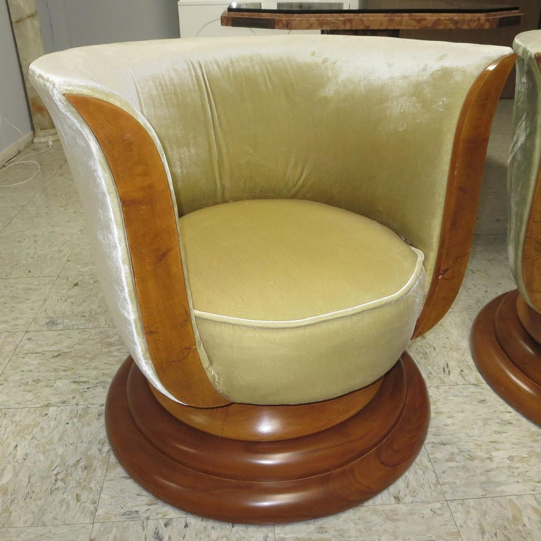 These fantastic 1930s Art Deco chairs are from the Hotel Le Malandre of Brussels Belgium. They both retain original metal tags to the underside. These are the originals that all the others were copied from! The solid walnut bases were previously