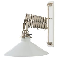 Art Deco Swiweling and Extendable Nickel Wall Lamp with Glass Shade, circa 1920s