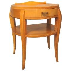 Art Deco Sycamore Veneer and Gild Bronze Side Table