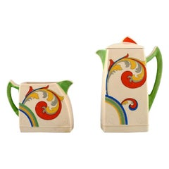 Art Deco Syren Coffee Pot with Jug in Hand-Porcelain. Royal Doulton, circa 1920s
