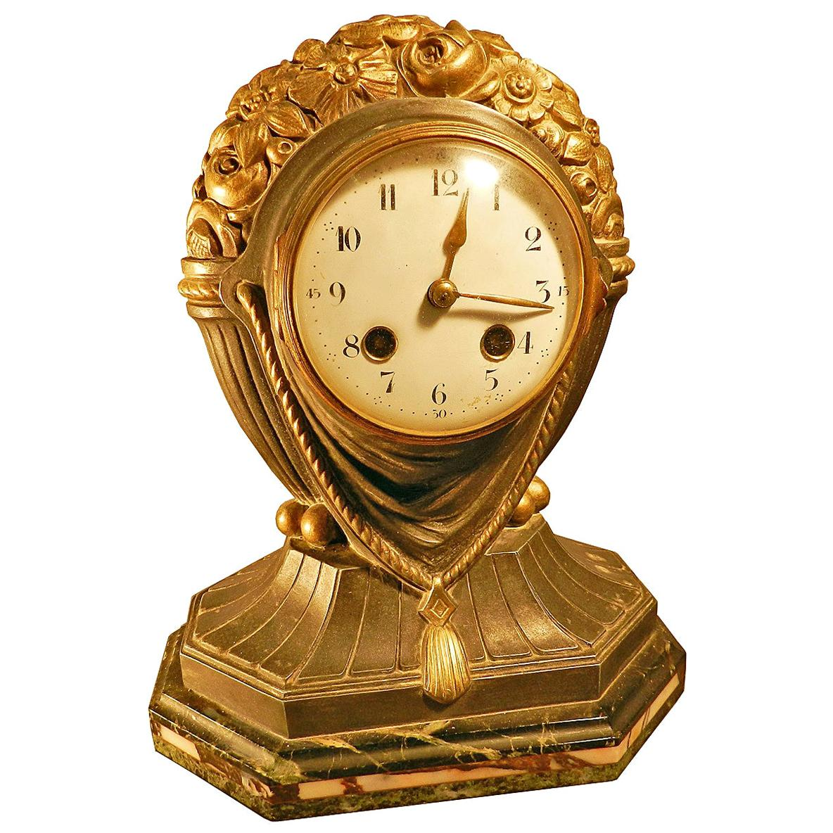 Art Deco Table Clock in Gilt Metal and Marble, circa 1930