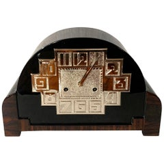 Art Deco Table Clock, Macassar, Black Lacquer and Nickel, France circa 1930